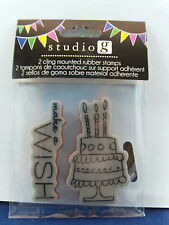 NEW STUDIO G CLING MOUNTED RUBBER STAMP BIRTHDAY CAKE MAKE A WISH IC0037 299