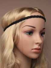 Boho Ladies Festival Wedding Garland Black Cord Forehead Hair Brow Head Band