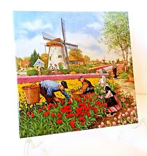 "ROYAL MOSA HOLLAND DUTCH TILE FARMERS WINDMILLS TULIPS  6"" Great Cond."