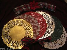 "Holiday Christmas 10"" inch Red White Green Gold Silver PAPER DOILIES ROUND LACE"