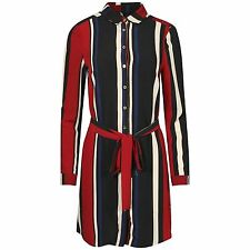 NEW LADIES MULTI COLOUR STRIPE SHIRT DRESS WOMENS LONG SLEEVED BELTED BLOUSE TOP