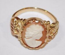 Black Hills Gold Peach Cameo Leaves Ring 10 kt 12 kt Coleman Size 6 1/2