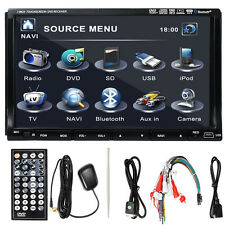 "GPS Nav 7"" Double 2 Din Car Stereo Radio Video DVD CD Player Bluetooth iPod New"