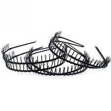 6pcs Narrow Metal Wire Comb Football Sports Hair Headband Hair Hoop Black