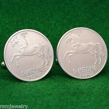 Norwegian Stallion Horse Coin Cufflinks, 1 Krone Crown Norway Norge Scandinavian