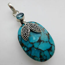 Copper Turquoise Blue Topaz Solid 925 Sterling Silver Gemstone Pendant Jewellery