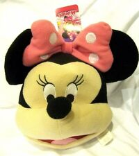 """Disney Minnie Mouse with Pink Polka Dots Bow 10"""" Plush Head Costume Bag-New!"""