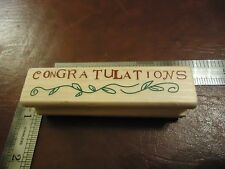 CONGRATULATIONS RUBBER STAMP QUOTES SAYINGS FUN FONT CONGRATS! IVY PLANTS BORDER