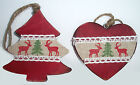 Hanging CHRISTMAS Decorations | Nordic Wooden Tree and Heart | Rustic CHRISTMAS