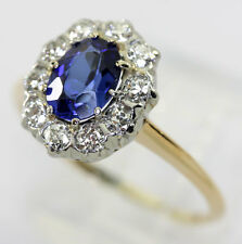 Antique Victorian diamond sapphire ring 14K yellow gold estate oval VS Euro 1.75