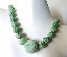 HUGE VINTAGE CHINESE CARVED ENDLESS KNOT QILIN JADE BEADS NECKLACE TO 28mm 17""