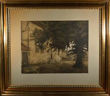 Excellent LARGE Antique Danish Etching, Traditional Country Home, A.F. Williams