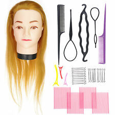 Synthetic Hair Cosmetology Salon Golden Mannequin Training Head Practice Braid A