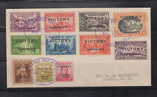 Philippine Stamps: 1945 Victory Issues FDC, Bacolod Post Office Cancel, scarce