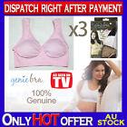 THREE Genuine Genie Bra Comfort Support Seamless S M L XL XXL XXXL Pastel Pink