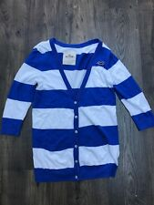 Womens Hollister Blue and White Striped 3/4 Sleeve Knitted Cardigan - Size Large