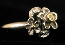 PANDORA STERLING SILVER 14K YELLOW GOLD FLOWER RING W DIAMOND IN CENTER SIZE 5.5