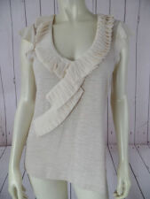 DELETTA ANTHROPOLOGIE Top M NEW Beige Heather Cotton Stretch Knit Ruffles CHIC!