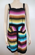 NWOT MISSONI ORANGE LABEL Knit Stripes Summer Strap Colorful Dress 44 8 Medium M