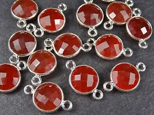 1 x 10mm ROUND FACETED RED ONYX / CHALCEDONY STERLING SILVER CONNECTOR