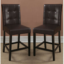 "2 pc Dining High Counter Height Side Chair Bar Stool 24""H Espresso Faux Leather"