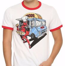 Marvel Comics Deadpool Taco Truck White & Red Ringer T-Shirt XL Extra Large NWT