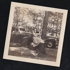 Antique Photograph Woman in Gingham Dress in Tree Swing by Antique Cars Autos