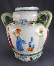 Antique 3-Handled Loving Jug-Vase Majolica Style Embossed Figures Bows+Floral