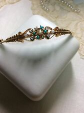 14K  ANTIQUE VICTORIAN ETRUSCAN TURQUOISE, PEARL AND DIAMOND BANGLE BRACELET