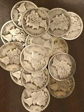 Lot of 50 Coins, 1 Roll Mercury Silver Dimes, ALL 1916-29 PDS MIXED, $5.00 Face