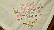 VINTAGE WHITE SQUARE TABLECLOTH, HAND EMBROIDERED & FRINGED COTTON W TULIPS