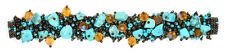 #BR101 Artisan Turquoise Bronze Bracelet Crystal Beads Glass Magnetic Clasp 7.5""