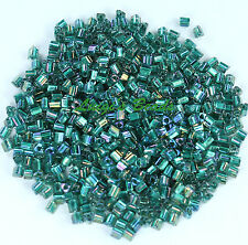11/0 TOHO Triangle Glass Seed Beads #270- Crystal/Praire Green Lined 15 grams
