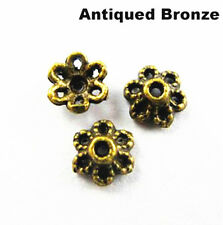 50Pcs Retro Antique Metal Alloy Flower Bead Caps 6mm For Jewelry Making