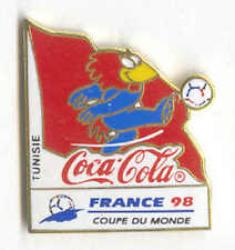 1998 WORLD CUP COCA COLA TUNISIA FLAG PIN CARRIED BY MASCOT FOOTIX NOS