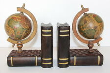 Vtg Pair Old World Map Globe Bookends Spinning Rotating Wood Base Books Spain