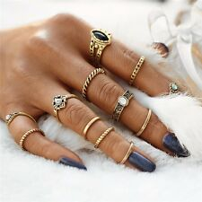 ETHNIC BEACH BOHO PARTY GOLD TONE VINTAGE STYLE RETRO RING SET 12 PC RING SET