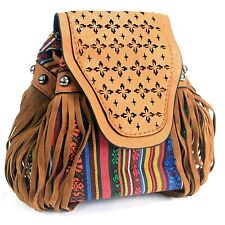 Italian Style Handbags Ladies Women Shoulder Brown Backpack Boho Chic Womens Bag