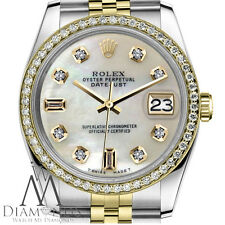 Women`s Rolex 26mm Datejust 2 Tone White MOP Mother Of Pearl Diamond Dial Watch