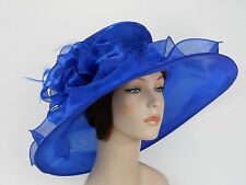 New Church Kentucky Derby Wedding Organza Wide Brim Dress Hat 3546 Royal Blue