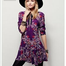 NWT FREE PEOPLE SzM SMOOTH TALKER FLORAL PRINT TUNIC DRESS PULMBERRY $108.