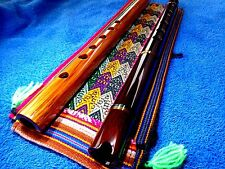 2 NATIVE AMERICAN STYLE FLUTE & INDIAN BAG  TUNED IN (G) LOOK  video WOOD NEW