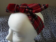 HEADWRAP HAIR WRAP HEADBAND HEAD BAND RED TARTAN PLAID CHECK LADIES GIRLS NEW