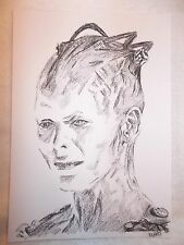 A4 Charcoal Sketch Drawing Alice Krige as Star Trek Movie Borg Queen