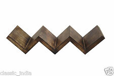 "Wooden Wall Bracket Book Shelf W-Shape 22X7x7"" ✿Light Burnt Antique Matte Finish"