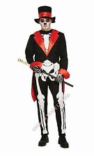 Adult Men's Bones Skeleton Jangles Day Of The Dead Halloween Fancy Dress Costume