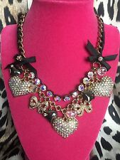 Betsey Johnson SUPER SPARKLY Crystal AB Aurora Heart Bow Black Ribbon Necklace