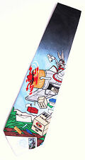 Looney Tunes 1997 BUGS BUNNY AIR MAIL TIE Airplane USPS STAMP COLLECTION NEW NWT