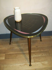 VINTAGE COFFEE TABLE BASSE SALON TRIPODE MODERNISTE VERRE dlg FORMICA 50 60