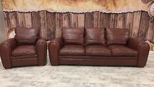 DURESTA SPITFIRE SOFA & ARM CHAIR SUITE SETTEE ANILINE BROWN LEATHER RRP £8500